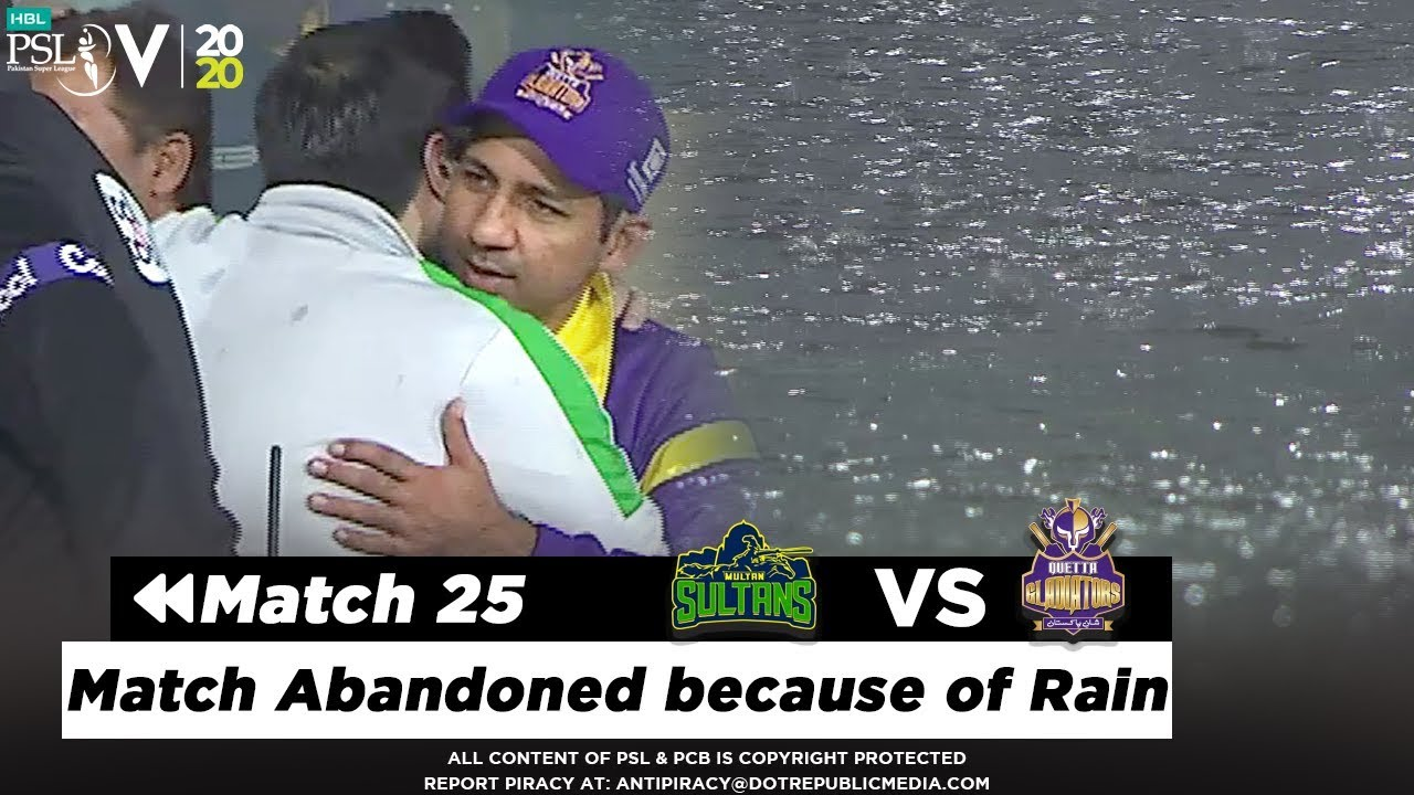 The Match between Sultans and Gladiators has been Abandoned due to Rain | HBL PSL 2020