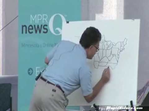 Minnesota Senator Al Franken Draws The United States From Memory - Al franken draws us map
