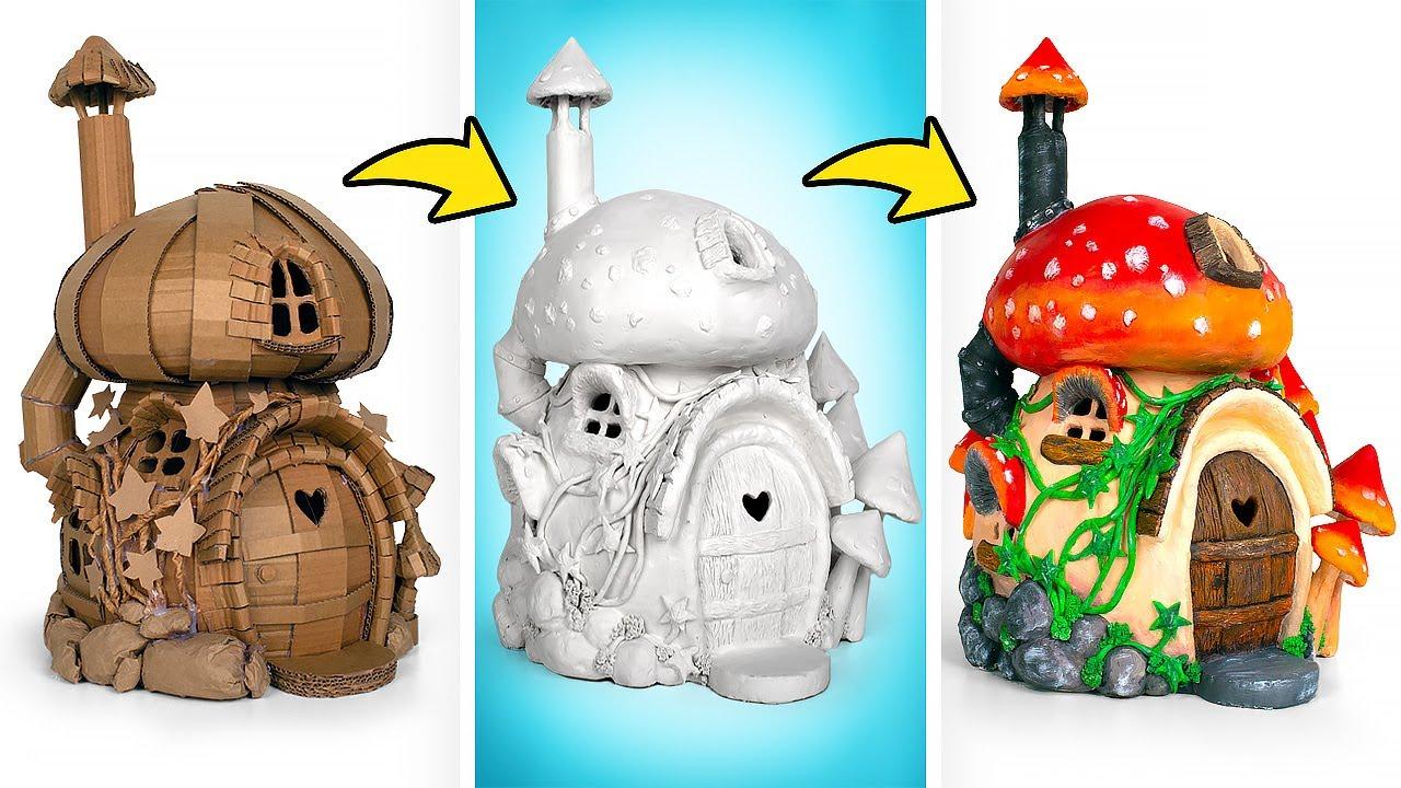 Как смастерить сказочный дом-гриб из картона