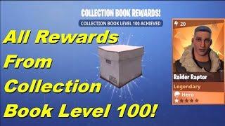 Fortnite - All Rewards From Collection Book Level 100! Raider Raptor Reward!