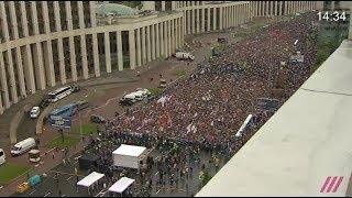 Митинг на проспекте Сахарова за 50 секунд. Вид сверху