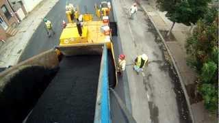Mack Dump Truck Work laying asphalt. for kids