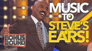 Music to STEVE HARVEY's EAR'S | 5 Families SING on Family Feud | Bonus Round