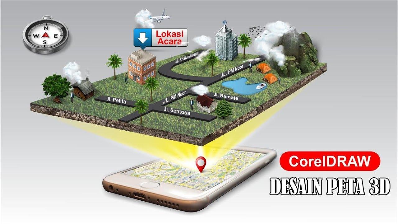 Desain Peta 3D dengan CorelDRAW - Tutorial Coreldraw - YouTube