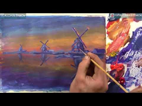 Мастер класс Мельницы на рассвете - как нарисовать акрилом - Time lapse урок живописи для начинающих