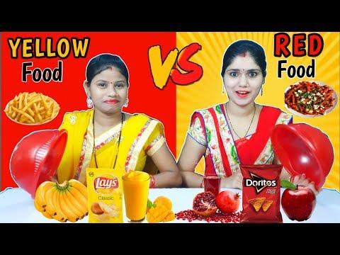 YELLOW VS RED FOOD CHALLENGE   Yellow vs Red Food Challenge   Funny Food Challenge