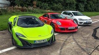 McLaren 675 vs 911 Carrera GTS vs Golf R - Top Gear: Drag Races