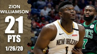Zion Williamson records double-double in Celtics vs. Pelicans | 2019-20 NBA Highlights