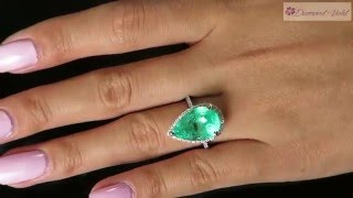 GIA 7 16CT VINTAGE ESTATE COLOMBIAN GREEN EMERALD DIAMOND ENGAGEMENT RING 14KW