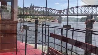 Ferries across Vltava in Prague, Czech Republic