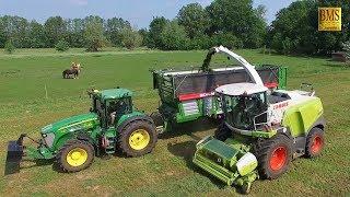 Gras häckseln / silieren 1. Schnitt - Großeinsatz Grasernte Claas Jaguar 970 Fendt John Deere Claas