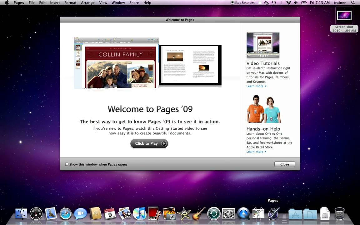 Capturing Your Screen In Mac Os X Snow Leopard
