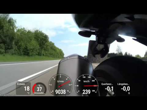 BMW K1300S Acceleration with Engine- and GPS-Data Video Overlay