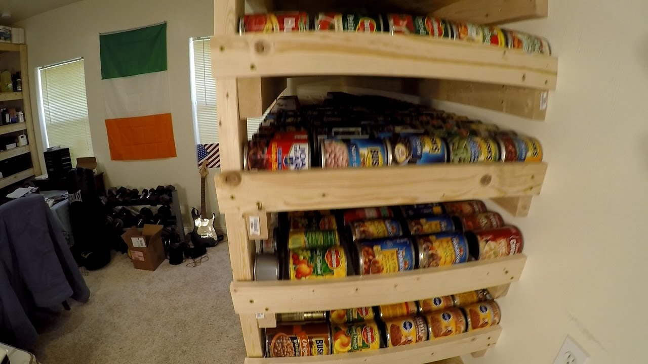 pantry storage shelves with 1000 can food rotation youtube rh youtube com