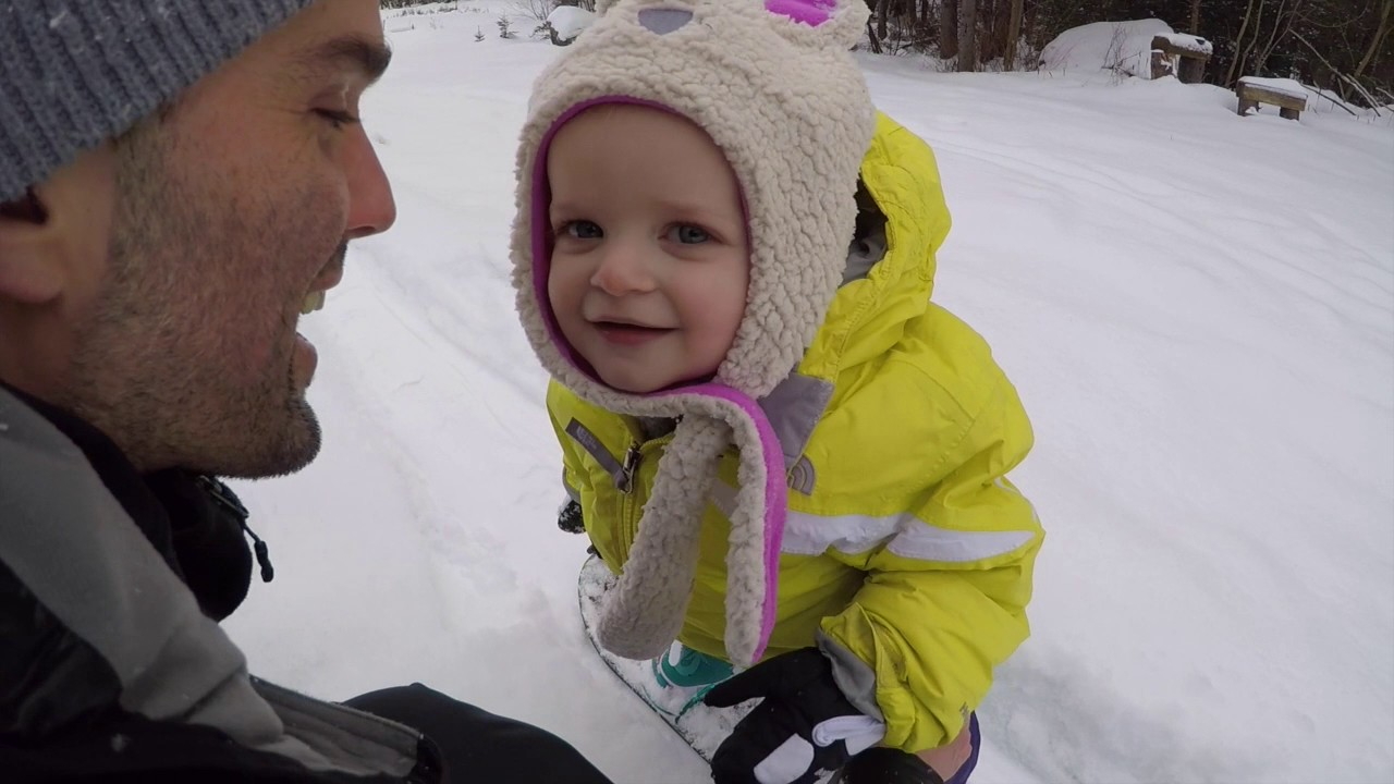 snowboarding baby one year old learns to ride youtube