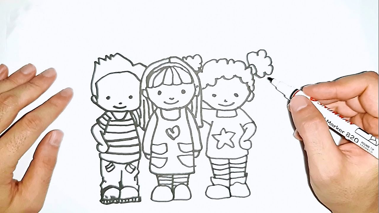 How to draw best friends fun and easy drawing for kids