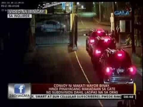 24 Oras: Convoy ni Makati Mayor Binay, 'di pinayagang makadaan sa gate ng subdivision