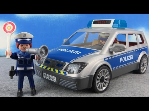PLAYMOBIL Polizei deutsch: Polizeiauto 6873 auspacken