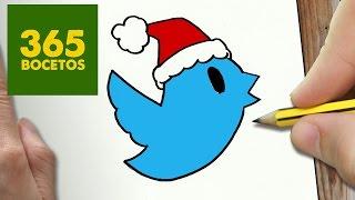 Como Dibujar Un Twitter Para Navidad Paso A Paso Dibujos Kawaii