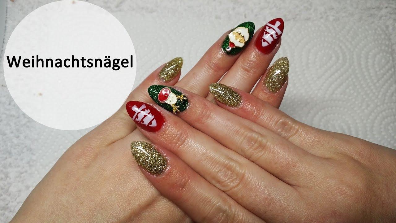 Glitzernde Weihnachtsnägel mit süßen Overlays   Dip Nails Nugenesis ...
