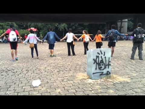 Peaceful protestors in São Paulo under MASP (Museum of Art) on Avenida Paulista Activists
