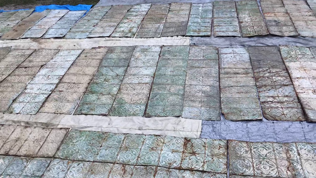 Antique Vintage Tin Ceiling Tiles Lot for Sale - YouTube