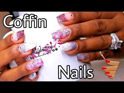 (1ST-ATTEMPT) COFFIN NAILS on my Sister | Sculpted PINK & SILVER Glittered Acrylic Nails