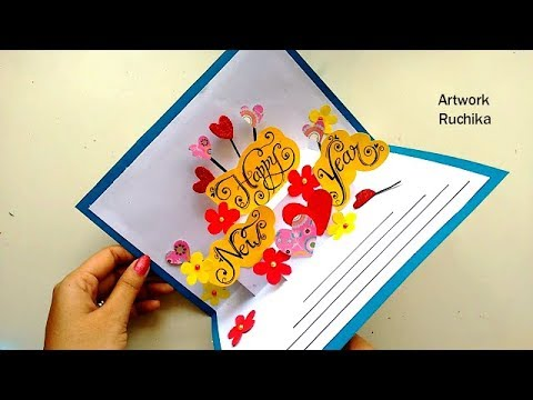 handmade happy new year card pop up card beautiful cards at home youtube