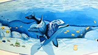 Realistic Underwater Dolphin Mural