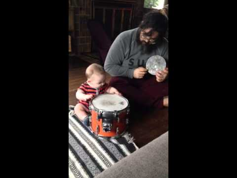 Uki drums with daddy