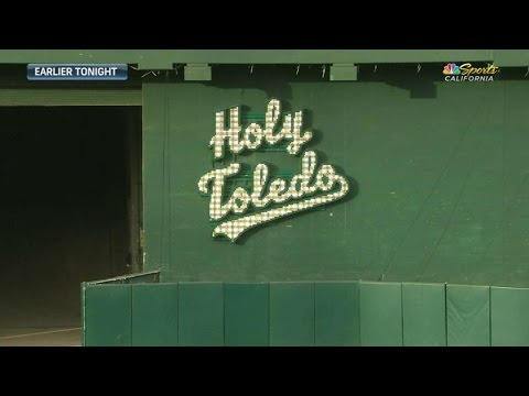 DET@OAK: A's honor Bill King with 'Holy Toledo' sign