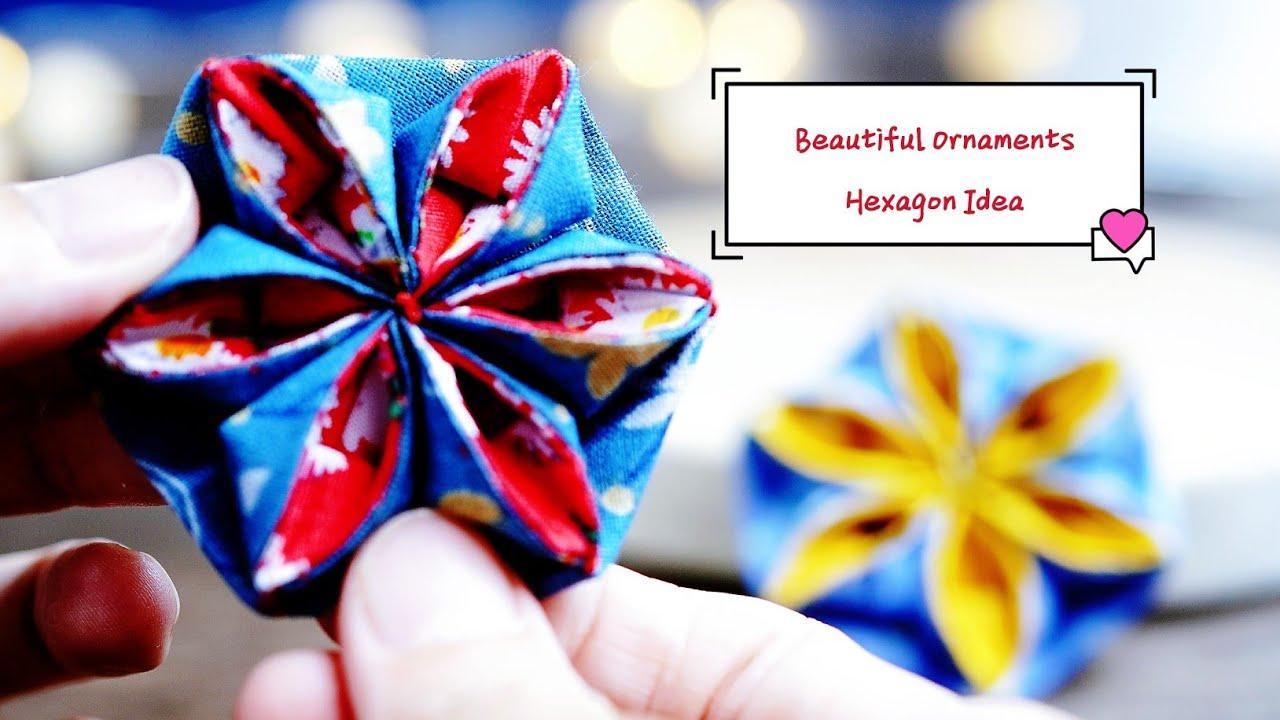 Folded Fabric Flowers Make Beautiful Ornaments Hexagon Idea Easy Sew Fabric Flowers Fabric Christmas Ornaments Folded Fabric Ornaments