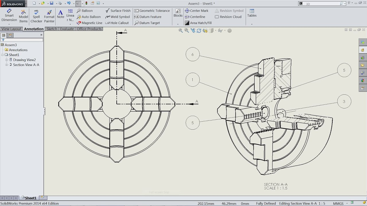 How to make Section view in Solidworks drawing