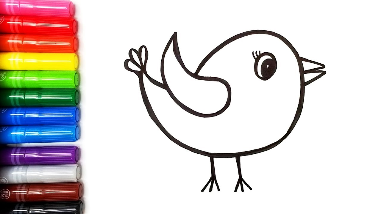 - Drawing A Cute Bird Coloring Pages Color Time Kids Art - YouTube