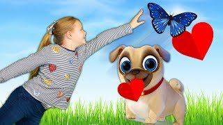 Paw Patrol and Puppy Dog Pals and Vampirina Helps to Find The Assistant's Valentine Card