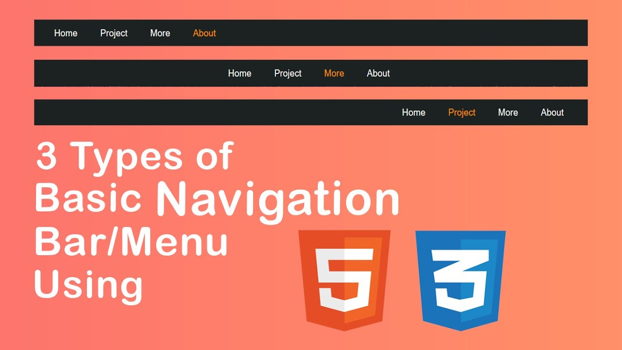 3 Basic Navigation Bar Using HTML5 & CSS3