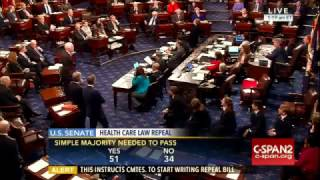 Enraged Senate Democrats Vote NO on repeal of Obamacare 51-48