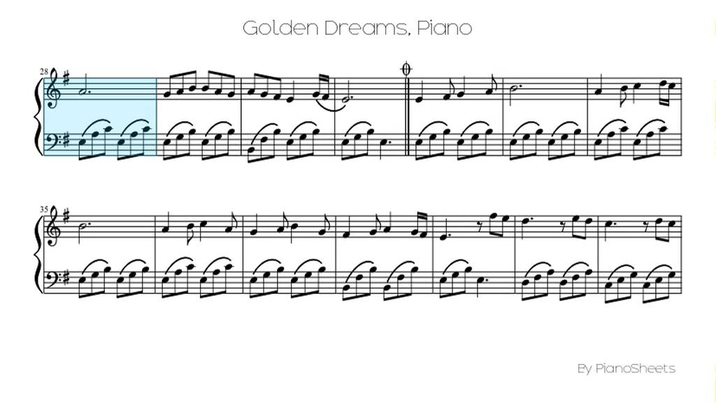 All Music Chords golden sheet music : Golden Dreams [Piano Solo] - YouTube