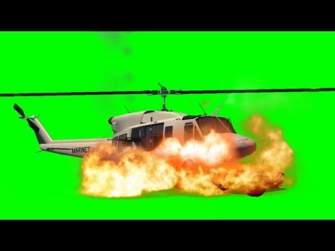 Helicopter crash on a Car and explode Movie FX Green Screen thumbnail