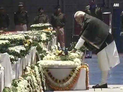 Pulwama attack: PM Narendra Modi lays wreath on mortal remains of CRPF jawans