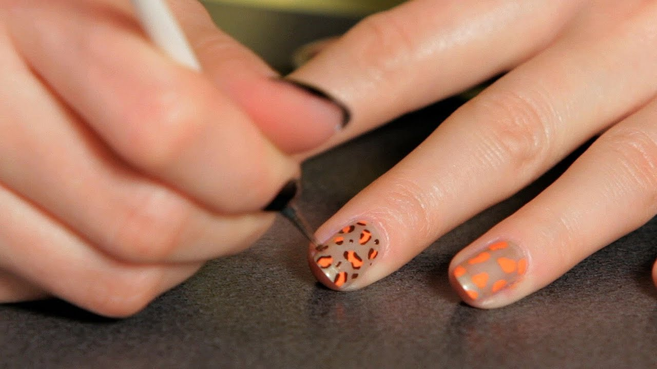 How To Do A Cheetah Design Nail Art Designs Youtube