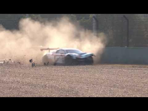 Audi R8 LMS Cup 2016. Race 2 Shanghai International Circuit. Congfu (Franky) Cheng Hard Crash