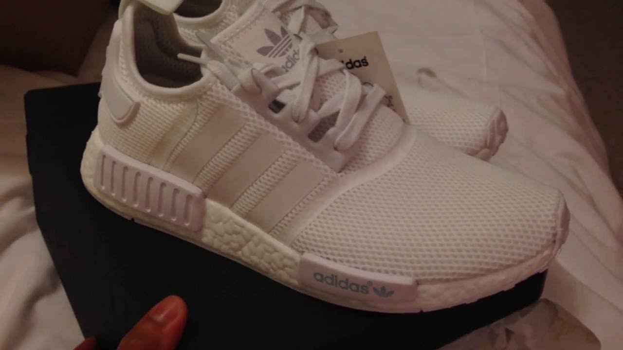 8778d05a7 Unboxing Adidas NMD R1 Triple White Mesh - YouTube