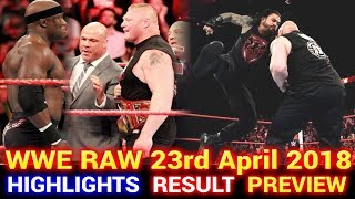 WWE Monday Night Raw 23rd April 2018 Hindi Highlights Preview - Roman Reigns vs Brock Lesnar Results
