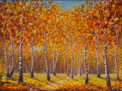 Buy oil painting Sunny autumn birch forest — ORIGINAL Oil Painting By artist Valery Rybakow