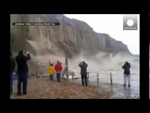 Dramatic amateur video: Huge cliff crumbles into sea in Hastings