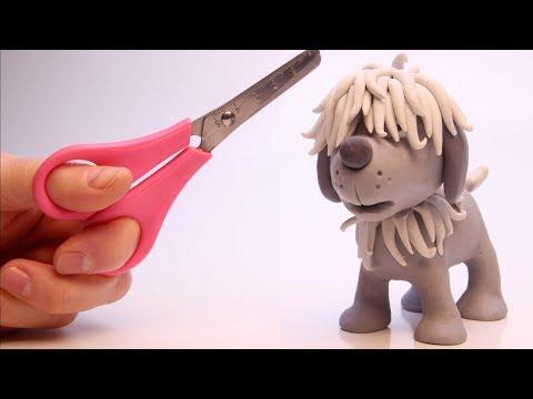 Hairy Puppy needs a hair cut 💕 Superhero Play Doh Stop motion cartoons