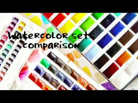 Watercolor Sets Comparison- White Nights, Cotman & Gansai Tambi