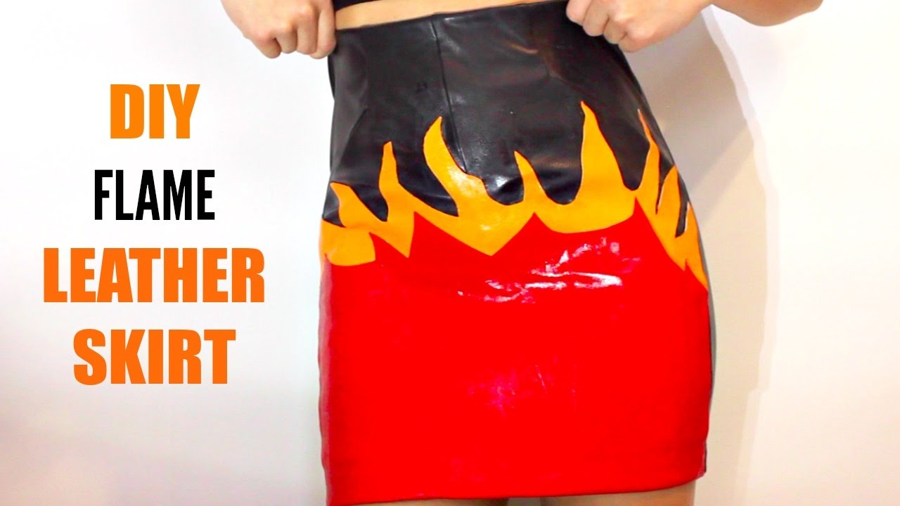 DIY Leather Flame Skirt 2017 (no sew) // THREADSOBSESSED ...