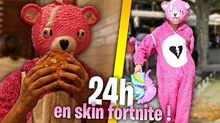 LIVE 24H DEGUISER IN SKIN FORTNITE in THE REAL REAL!! (This video is a dying of laughter!)
